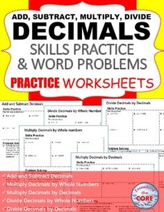 This resource includes 5 DECIMALS practice worksheets (50 questions). Each worksheet includes two sections, Skills Practice and Problems Solving. The SKILLS PRACTICE section of each worksheet includes 6 computational problems. The WORD PROBLEM section of each worksheet allows students to apply their understanding of the topic to solve 4 word problems. Add & Subtract Decimals, Multiply &  Divide Decimals by Whole Numbers & Decimals Middle School Math Common Core 6NS2, 6NS3