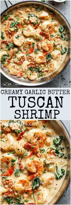 Creamy Garlic Butter Tuscan Shrimp coated in a light and creamy sauce filled wit. Creamy Garlic Butter Tuscan Shrimp coated in a light and creamy sauce filled with garlic, sun dried tomatoes and spinach! Packed with incredible flavours! Yummy Recipes, New Recipes, Cooking Recipes, Healthy Recipes, Cake Recipes, Recipies, Keto Shrimp Recipes, Italian Shrimp Recipes, Shrimp And Spinach Recipes