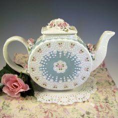 Doily+Teapot+by+RomancingTheTeapot+on+Etsy,+$82.95
