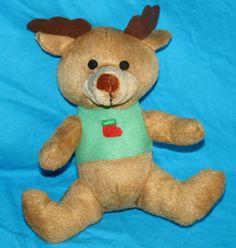 "Kellytoy Reindeer Brown Green Plush Christmas Stocking 2012 Stuffed Animal 8"" #Kellytoy #Christmas"