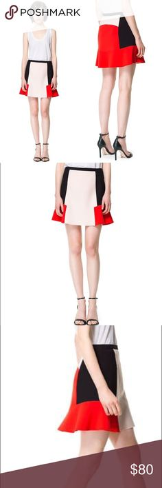 """NWOT ZARA TRI-COLOR BLOCK PEPLUM SKIRT Super cute and elegant skirt from ZARA. Never worn, perfect condition. Stretchy cotton blend material with beautiful black, beige, and red color block. Zipper closure on the side. A line flare type, you will look really cute with any top and shoes! 😍 Size: S. Total length: 16.5"""", waist: 26"""", hip: 36"""". Feel free to ask any questions if you have. Thank you🙏 Zara Skirts A-Line or Full"""