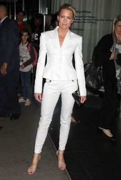 85558026029a Robin Wright Pantsuit - Robin wears a white sleek pantsuit for  The  Conspirator  premiere in NY.