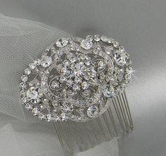 Crystal hair comb Rhinestone wedding comb by CrystalAvenues