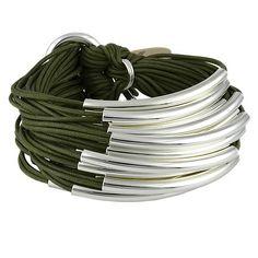 Gillian Julius Multi Tube Bracelet, Silver   Khaki Cord. Multi strand bracelet consisting of 20 waxed cotton cords. Each cord of bracelet features a silver tube. $275