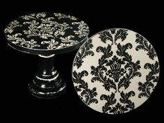 Damask - black and white - decoupaged - vintage look - small - wooden - cake stand - cupcake pedestal