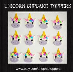 12 Unicorn  Cupcake toppers unicorn  cake topper by SEtoppers