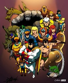 Space Ghost, Birdman, Blue Falcon, Thundarr, Mightor, Herculoids and Company by Dennis Chacon. #absolutely #awesome #superheroes