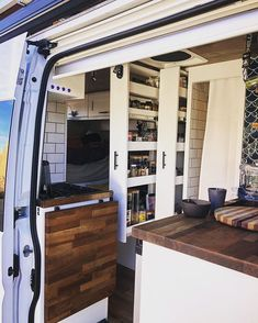 Keeping it tidy west coast 🚐💨 Currently in 🌴 and the Van Damme is opening up to the sunshine, ocean breezes, and… Van Damme, Van Living, Tiny House Living, Decoration Hall, Kombi Home, Van Dwelling, Camper Van Conversion Diy, Campervan Conversions Layout, Camper Life