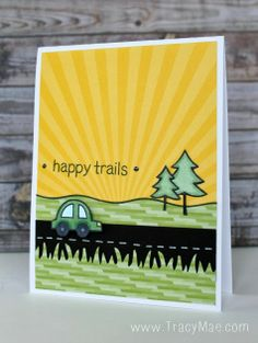 Lawn Fawn - Happy Trails, Hello Sunshine 6x6 paper, Into the Woods 6x6 paper, _ Tracy Mae Design: Lawnscaping Blog Hop + Happy Trails Video