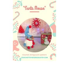 Amigurumi christmas gnome, Crochet Santa Mouse pattern