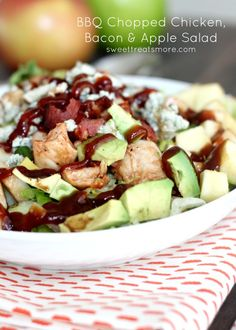 BBQ Chopped Chicken, Bacon & Apple Salad---Sound very yummy except for the blue cheese, I will just omit. Think Food, I Love Food, Chicken Bacon, Chicken Recipes, Chicken Salad, Turkey Bacon, Bbq Chicken, Apple Chicken, Pork Bacon