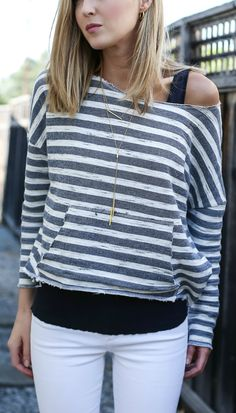 The best Nordstrom Anniversary Sale picks UNDER $50 including this amazing navy and white striped boatneck off the shoulder sweatershirt and white distressed jeans! THE SALE ENDS AT MIDNIGHT!!