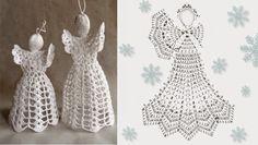 Schemi di angeli a uncinetto da appendere perfetti come decorazioni pasquali o natalizie. Occorrono pochi grammi di cotone.