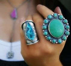 Your Soul's Flower - Chrysoprase and Turquoise Sterling Silver Cluster Ring