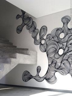 Arte em parede usando apenas canetas, por Giuliano Martinuzzo