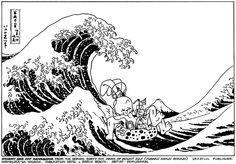 La famosa estampa de La gran ola de Kanagawa de Hokusai con un invitado especial: el Usagi Yojimbo de Stan Sakai. Podéis leer una reseña de la historia El camino del vagabundo aquí mismo