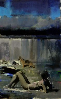 "Adrian Ghenie - ""Blue Rain Study"", 2009, oil on canvas, 32 X 20 in"
