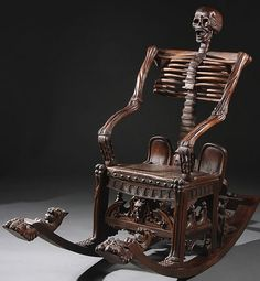 creepy furniture | Creepy Furniture: Russian-Style Carved Wooden Skeleton Rocking Chair