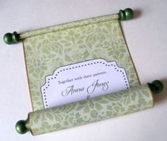 Rustic wedding invitation scroll on olive green floral damask paper with gold accents.    Basic info:  - 10 invitation scrolls  - customize with