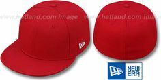 New Era '59FIFTY-BLANK' Solid Red Fitted Hat on hatland.com