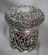 Exquisite English Sterling Silver Overlay 1909 Birmingham Cranberry Glass Jar