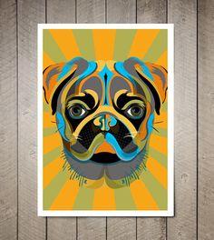 PUG, Dog, Art Print, Pop Art, Pet Decor, Poster sized Dog Decor, Dog Nursery decor, Pet Portrait, Gift for Pet Lover, Gift under 25