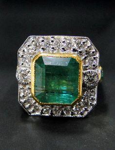 Emerald Ring vintage antique 18 K solid gold Diamond Emerald RingRectangle shape-9746 on Etsy, $3,499.99