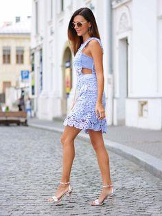 Shop Blue Side Hollow Lace A-Line Dress online. SheIn offers Blue Side Hollow…