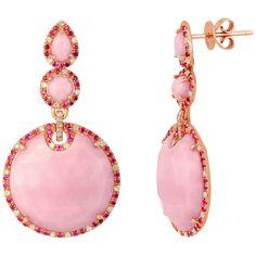 Pink Opal Diamond Ruby Gold Drop Earrings