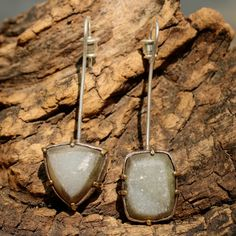 Light coloured druzy earrings on long silver post Check more at