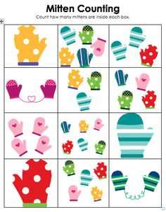 Free!! Mitten counting...could use as a cute match game! Part of winter unit.