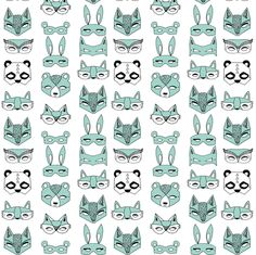Animal Masks - Pale Turquoise (Tiny Version) by Andrea Lauren fabric by andrea_lauren on Spoonflower - custom fabric