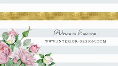 Chic Pink Rose Floral Faux Gold Stripe Interior Designer Business Cards http://www.zazzle.com/chic_pink_roses_faux_gold_stripe_interior_design_business_card-240655353088887681?rf=238835258815790439&tc=GBCDesigner1Pin