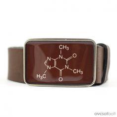 Koffein molekula  övcsat (barna), Ruha, divat, cipő, Férfiaknak, Öv, Meska