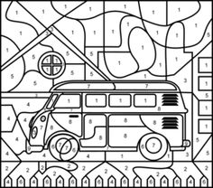 Bus - Printable Color by Number Page - Hard Fall Coloring Pages, Printable Coloring Pages, Coloring Pages For Kids, Coloring Sheets, Adult Coloring, Color By Numbers, Paint By Number, Printable Preschool Worksheets, Printables