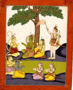 Rāma and Sīta with attendants, Hanuman,Lakṣmaṇa with caption. Ramayana, Gouache on paper,     Rajasthan School, ca. 1790-1810