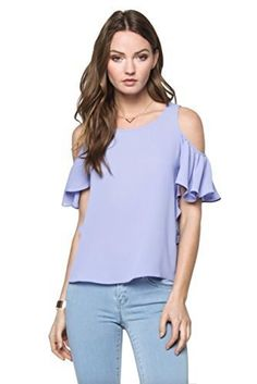 Everly Women's Cold Shoulder Blouse with Ruffled Flutter Sleeves