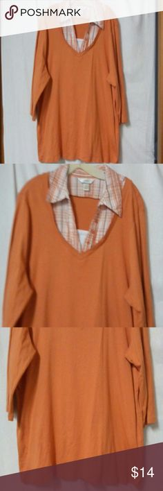 """CJ Banks women's plus size 2X shirt Barely worn, built in plaid collar, 3/4 sleeve, white inlay at the chest, orange, white and black, cotton, chest 54"""", length 29"""" cj Banks Tops"""