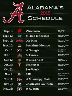 2015 Schedule for the Crimson Tide.