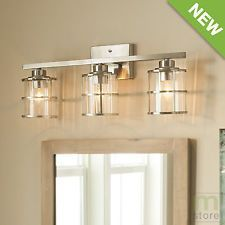 Bathroom Vanity Lights Pictures allen + roth 3-light vallymede brushed nickel bathroom vanity