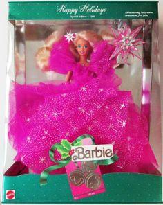 Barbie 1990, Play Barbie, Barbie Dolls, Barbie Stuff, Childhood Toys, Childhood Memories, Custom Barbie, Happy Holidays Barbie, Hallmark Ornaments