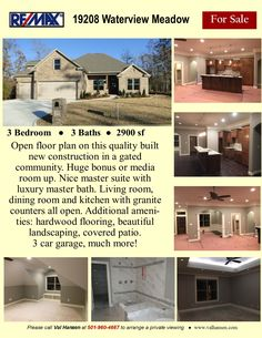 Wonderful new construction in gated subdivision. Much more! Master Suite, Master Bath, 3 Car Garage, Little Rock, Granite Counters, Gated Community, Luxury Living, Open Plan, New Construction