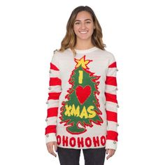 I Love Xmas Light Up and Bells Christmas Sweater Making Ugly Christmas Sweaters, Ugly Holiday Sweater, Christmas Sweaters For Women, Led Christmas Tree, Christmas Hat, Christmas Shirts, Xmas, Grinch Christmas Sweater, Christmas Clothes