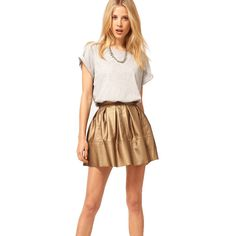 I'm all about the leather skater skirt. This one's metallic, which makes it feel a bit more festive.