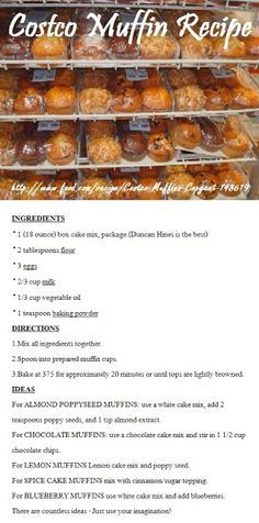 Costco Muffin Recipe - These are not bad, but nothing like Costco muffins. I used Betty Crocker French Vanilla cake mix as my base for the Almond Poppyseed muffins. I also only cooked them at 350 for 14 min. Costco Muffin Recipe, Muffin Recipes, Baking Recipes, Cake Recipes, Costco Recipes, Freezer Recipes, Giant Muffin Recipe, Costco Snacks, Hardboiled