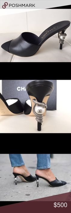 Chanel black heels size 6.5 us , 38 EU Great condition ,Chanel black heels. store price is 1200.  Chanel size is 6.5 which is 38 EU. CHANEL Shoes Heels