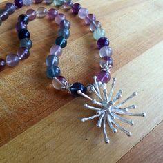 Fluorite Necklace  Purple Green Gemstone by jewelrybycarmal