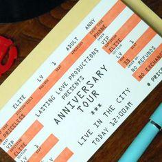 letterpress anniversary tour rock concert ticket card by a. favorite design