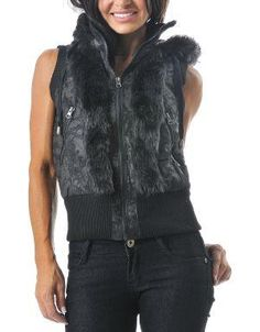 (CLICK IMAGE TWICE FOR DETAILS AND PRICING) Faux Fur Distressed Hoodie Vest Black. Wear this vest with your favorite jeans or leggings and keep warm in the upcoming fall_winter months. Featuring a drawstring hoodie and a ribbed waist and sleeves.. See More Coats and Jackets at http://www.ourgreatshop.com/Coats-and-Jackets-C76.aspx