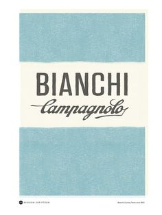 Bianchi Campagnolo Poster representing the 40's and 50's Era of cycling and the Tour de France